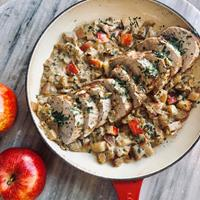 Melissa d'Arabian's Weeknight Pork Roast with Michigan Apple-Onion Gravy