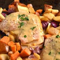 Apple-Cheddar Stuffed Chicken with Apple Cider-Dijon Sauce
