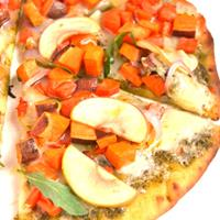White Cheddar and Pesto Roasted Vegetable Pizza