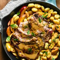 Skillet Pork Chops with Apple Gnocchi Sauté & Hard Cider Sauce