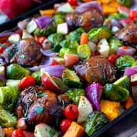 Sheet Pan Chicken Thighs with Fall Vegetables & Apples
