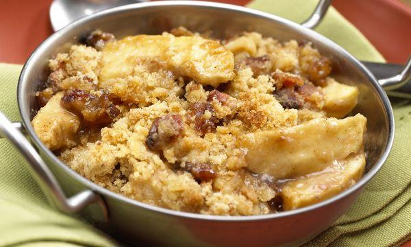 Sticky Toffee Apple Crisp with Candied Bacon Streusel