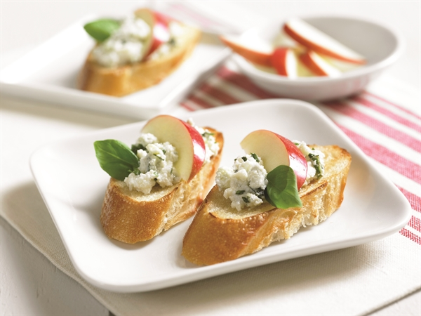 Creamy Blue Cheese and Honey Apple Topped Crostini