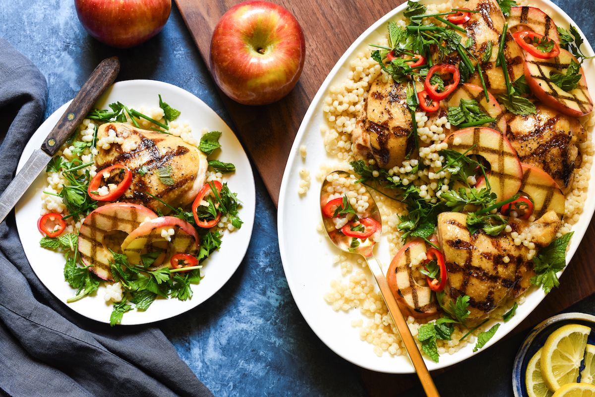 Grilled Chicken and Apples with Couscous