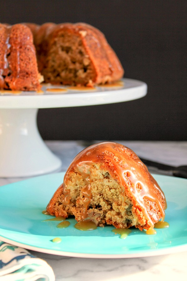 Apple Pecan Bundt Cake with Salted Caramel Drizzle