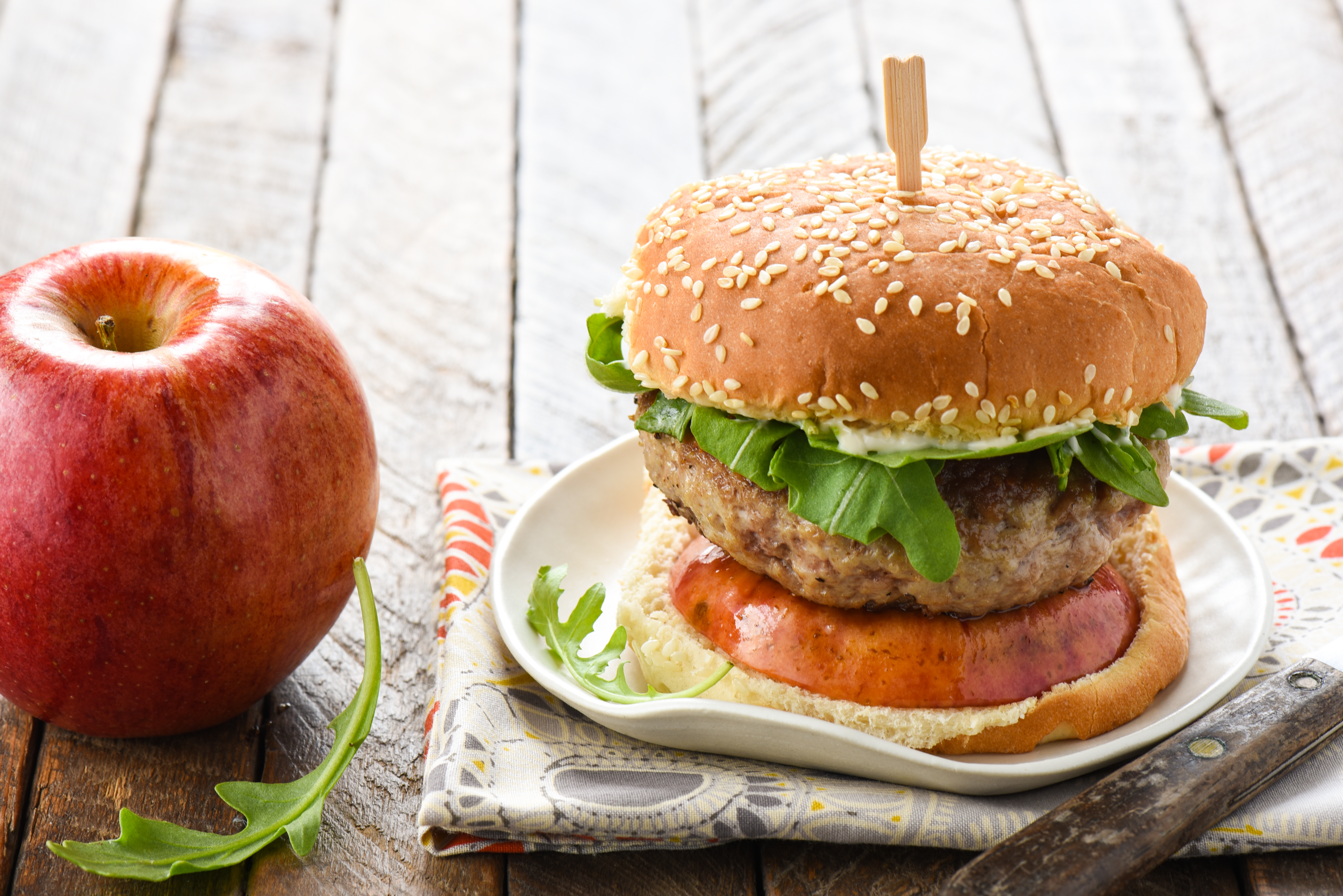 Pork Burgers with Sauteed Apples