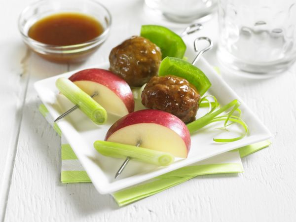Spicy Apple Glazed Meatball Skewers